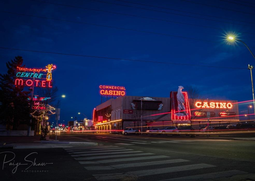 The neon lights of downtown #elko #nevada commercialhotelcasino . . . . . . #homemeansnv #travelnevada #explorenevada #cowboycountry #battleborn #silverstate #naturalnevada #neon #neonlights #downtown #vintage #vintagesigns #wanderlust #travel #explore #traveldeeper  #instagood #sonya7rii #sonyworldclub #bealpha #travelphotographer #cowboypoetry #commercialcasino #motel #nightphotography #nightphotoshoot #lighttrails
