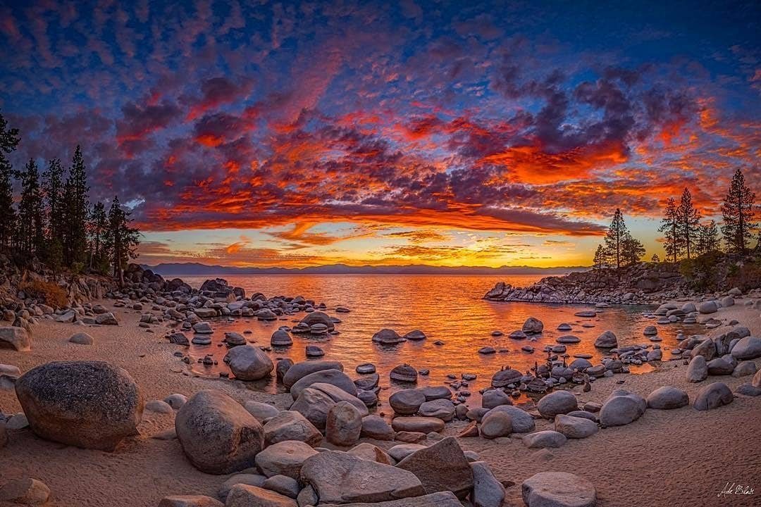 "Good Morning🧡 . Reposted from abeblair -  One of my best selling Tahoe images over at the_eadington_gallery and still one of the greatest sunsets I've photographed on the lake. ""Secret Cove Sunset"" #outdoorphotographer #outboundcollective #renotahoe #nevadamagazine #travelnevada #landscapecaptures #ig_masterpiece #pixel_ig #natgeoyourshot #earthofficial #majestic_sunset #earthshots #ig_landscape #epic_captures #mastershots #dream_spots #visual_heaven #nikonnofilter #optoutside #laketahoe #laketahoeofficial  #jawdroppingshots nikonaustralia outdoorphotomag renotahoe benrousa - #regrann"