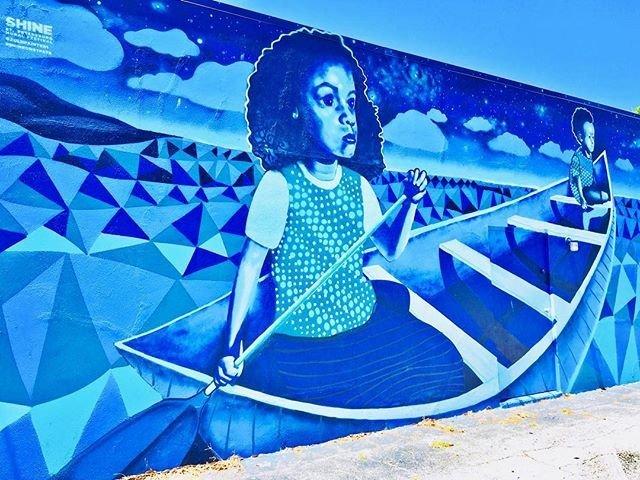 """""""Moon Beam Dream 2"""" by @zulupainter1  #shadesofblue #blue #blues #mural #muralart #muraltour #streetart #stpetemurals #stpeteart #spraypaint #spraypaintart #shineonstpete #stpetersburg #stpetersburgflorida #stpetefl #ilovetheburg #igersstpete #urbanwalls #liveamplified #capturestpete #beautifulstpete #wallart"""