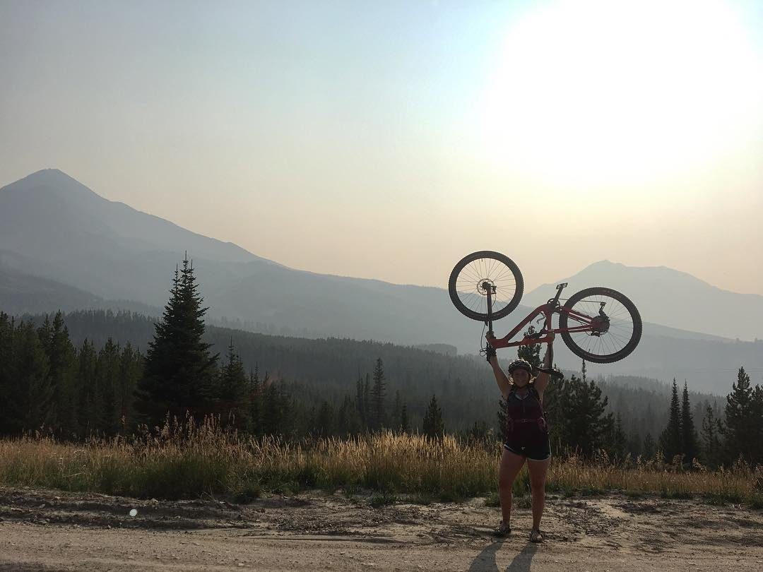 Photo by user donitafatland, caption reads Okay, I'm ready, can we do summer now? • • • #guidelife #bigsky #bikeguide #rockymountainbikes