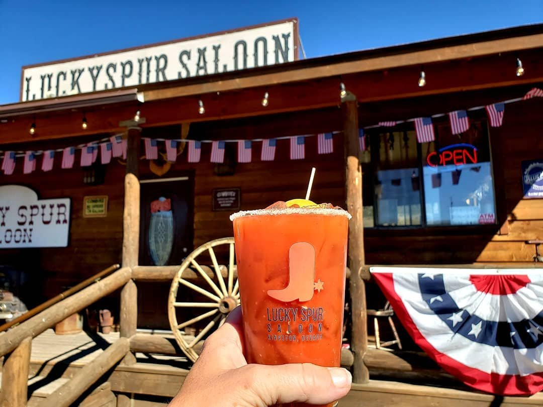 I'm here. You should be here too. #sunday #bloodymary #vodka #hairofthedog #bluesky #DFMI #luckyspursaloon #bigsmokyvalley #nevada #roadtrip #moodygrams #bar #saloon #potd #getoutside