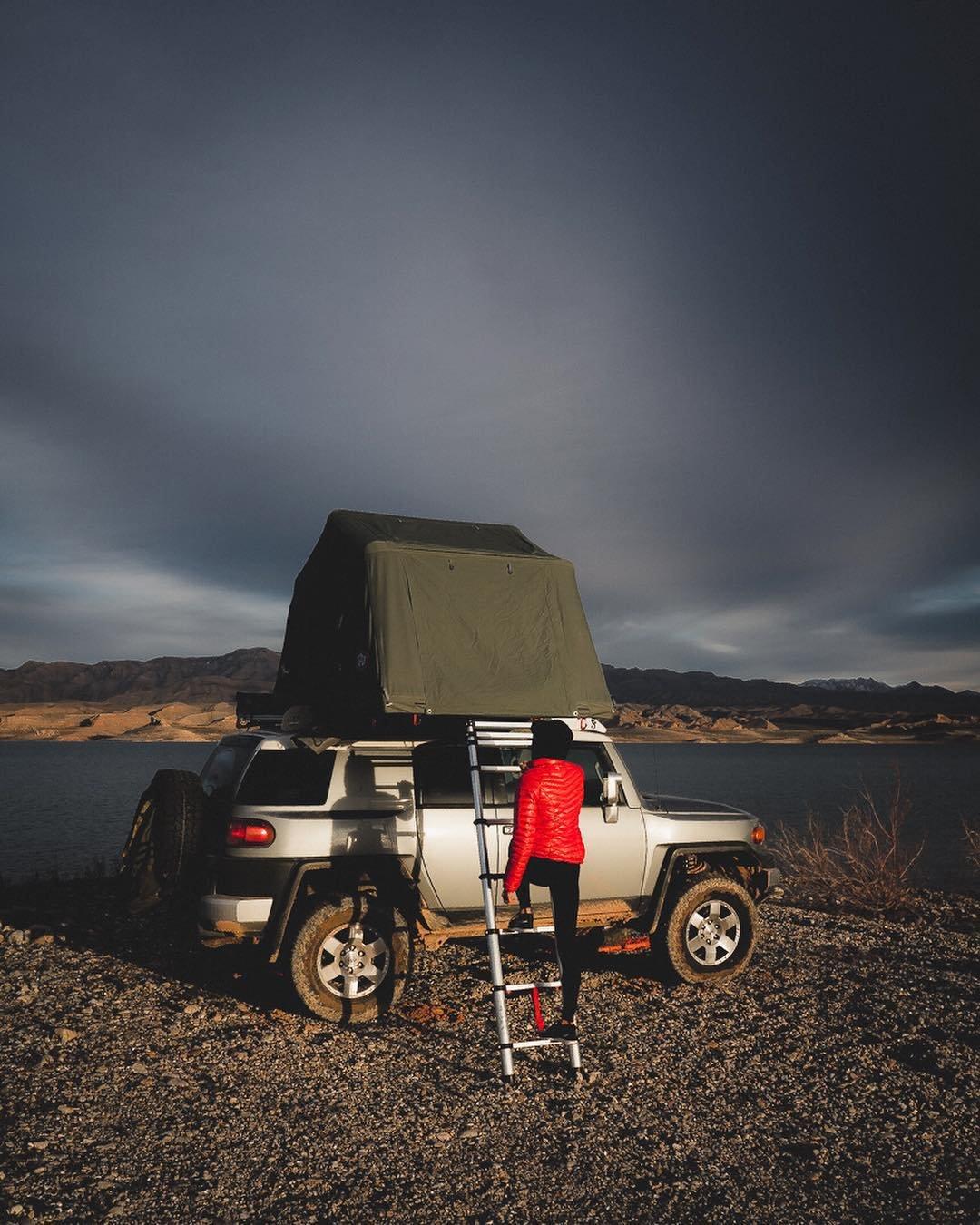 It's been a moody weekend.  I dig moody. • • • PC tchudatwentyfour  #weekendadventures #overlanding #wearetravelgirls #adventureawaits #radgirlslife #sheisnotlost #staywild #wanderer #visitnevada #travelusa #rooftoptentsofficial #optoutside #cntraveler #traveltribe #lakelife #exploretocreate #mountainlove #neverstopexploring #outdoorswoman #adventureiscalling #nevada #tepuitents #toyotafjcruiser #outbound #findyourpark #staywild #lifeelevated