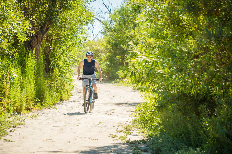 Man riding a bike in Talbert Regional Park