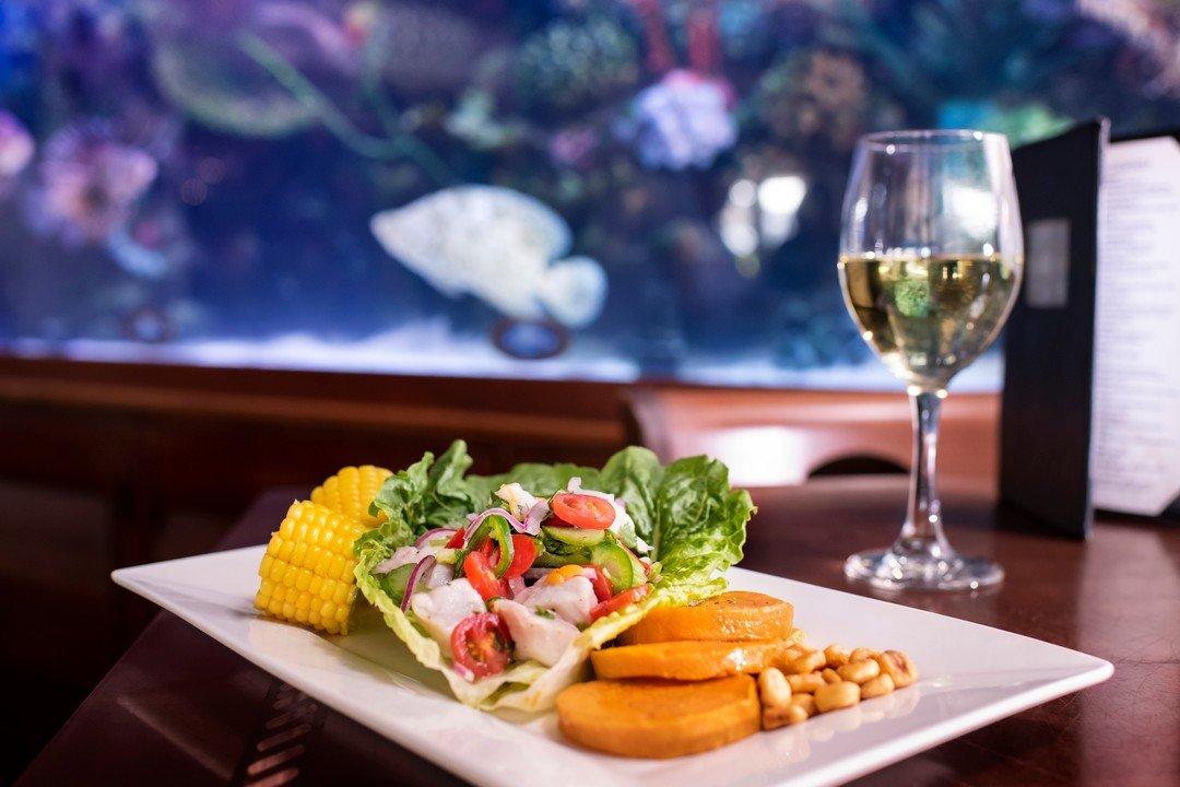Peruvian style ceviche, wine not? 🍷. . . . . #rumfishgrill #rumfish #tanked #eatdrinkshop #cltampabay #tbeatsout #lovefl #liveamplified #igersstpete #ilovetheburg #stpetebeach #seafood #tampahappyhour #vibestpete #tampaeats #floridafoodies #stpetefoodies #eatstpete #stpetersburg #seafood #explorida #aquarium #happyhour #ceviche