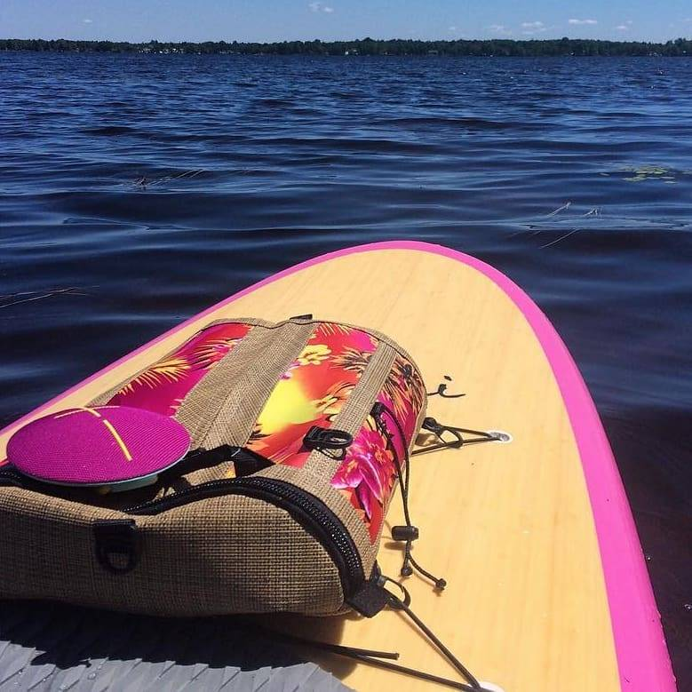 Take your #DeckBagZ full of water, snacks, gear and your tunes for a relaxing #paddleboarding day. Photo courtesy of our DeckBagZ Crew. . #paddleboarders #supgirl #paddleboardbags #hawaiian #retrostyle #livealoha #supgear #suplife #lakelife #yakgear #SUPtourting #paddlewithaloha #liveamplified #madeinamerica #paddlethekeys #supusa #pink