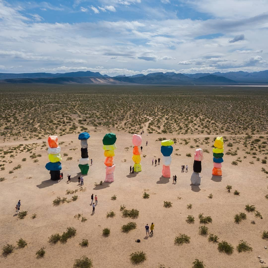 Seven Magic Mountains! How did they get there? . . . . . #drone #djiglobal #mavicpro #droneoftheday #instadrone #dronegram #droneofficial #fromwhereidrone #topdronephotos #twenty4sevendrones #gameofdronez #adventure #extreme #explore  #uniladadventure #travel #active #likeforlike #l4l #beautiful #California #visitnevada #visittheusa #roadtripusa #usa #instagood10k #nevada #sevenmagicmountain #lasvegas #visitvegas . fromwhereidrone twenty4sevendrones droneoftheday droneofficial visittheusa visitcalifornia unilad_adventure lensbible