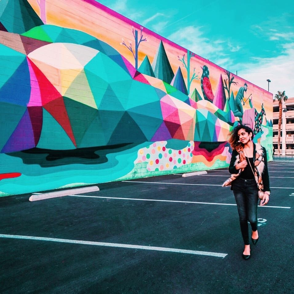 9/10 if you're headed to Vegas, it's not to look at art amirite? But, that's exactly why you need to add this to your list of things to see. Do something different and hit up the artsdistrictlv! #ad . 🎨 The Arts District, aka 18b, isn't hard to locate - you can find it just south of downtown #Vegas. It's a colorful cultural hub jam packed with indie art galleries and performance spaces in converted warehouses. The art is dope and *cough* totally Instagrammable 😉 . Do you like to explore street art when you travel? ✮✮ 📷: hey_ciara 🧥: Vegan/Faux fur vest from thrift store