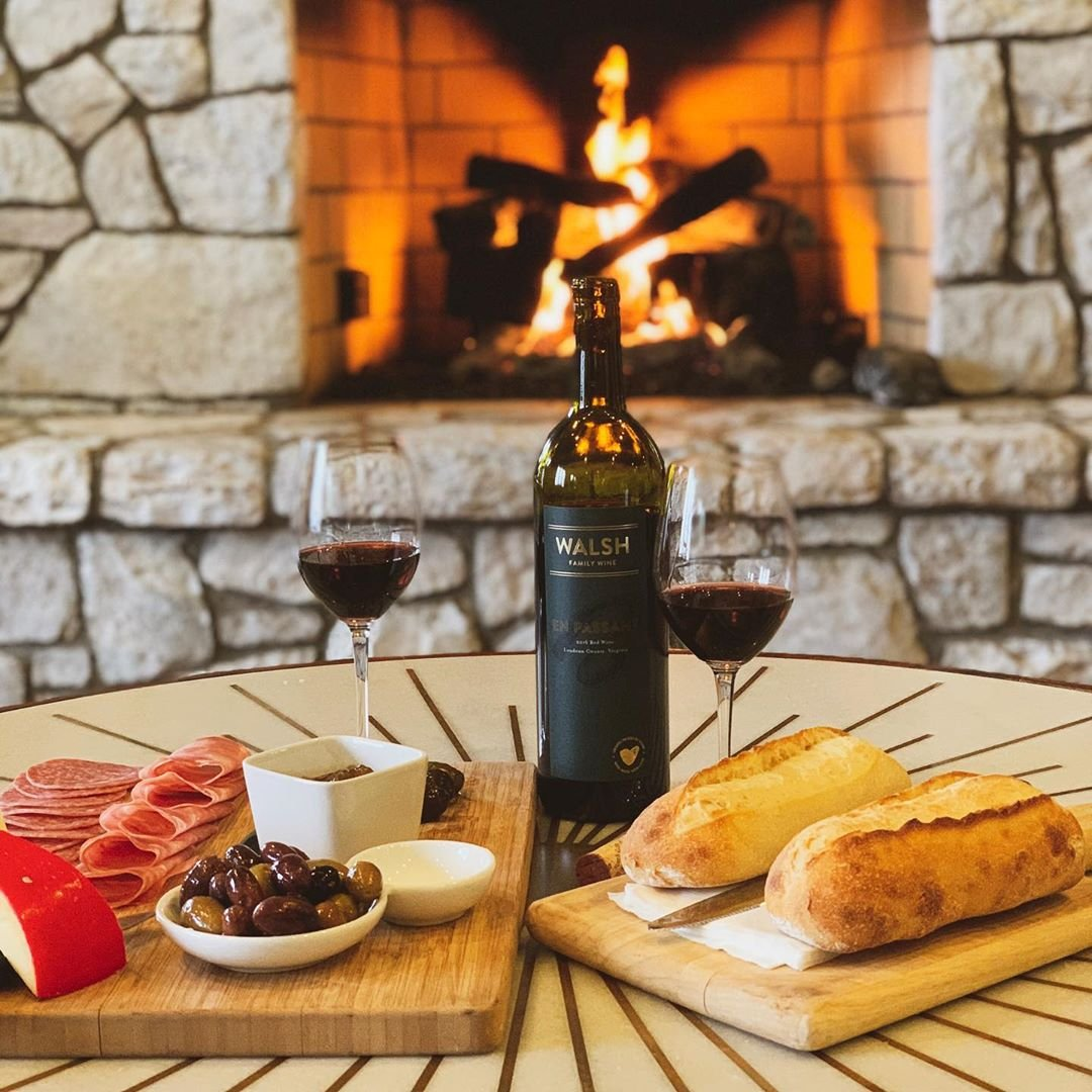 Photo by user virginiawinos, caption reads P E R F E C T I O N. . . . #wine #fire #vawine #virginiawine #winelovers #virginia #winelife #weekend #cheers #winery #winetasting #vineyard #winecountry #winos #wineblog #winestagram #fireplace #cozy #redredwine #nova #northernvirginia #loveva #cheeseandwine #saturday #cheese #loveloudoun #purcellville #food #foodie #foodandwine
