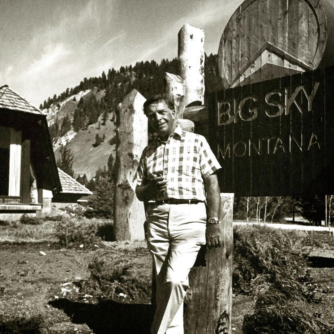 Photo by user buckst4lodge, caption reads |FBF| Then came this amazing resort filled with 5,800 acres of skiable terrain. Chet Huntley at the entrance of @bigskyresort . #buckst4 #community #visitbigsky #biggestskiinginamerica #moversandshakers #buildandbloom