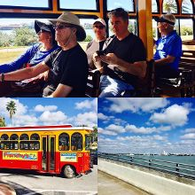 Holley trolley from Clearwater beach to Dunedin. Another adventure in Florida. #perkyandtheretiredprofessor