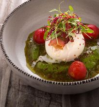 Burrata with salsa verde, poached cherry tomato and tomato emulsion. Smear some of that burrata on some grilled bread and enjoy😀