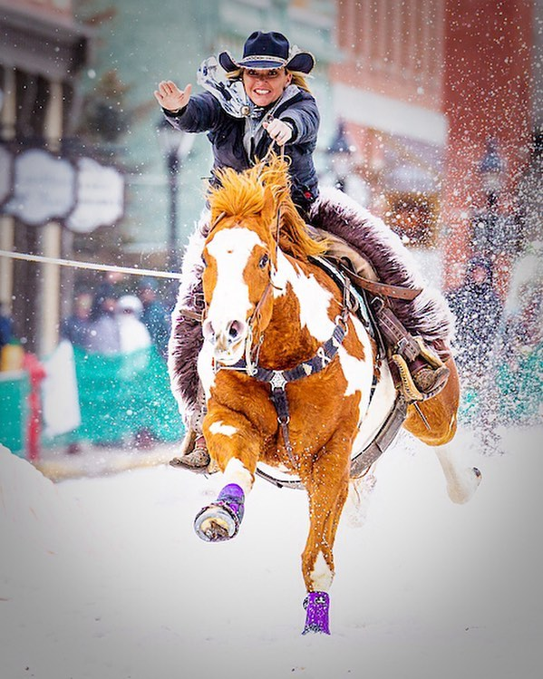 Leadville Ski Joring and Crystal Carnival kicks off Friday. Giddy up to Leadville! (Please, no dogs or drones.) Photo by @marklarowephoto  #leadville #colorado #horses #skiing #skijoring #thrill #coloradolive