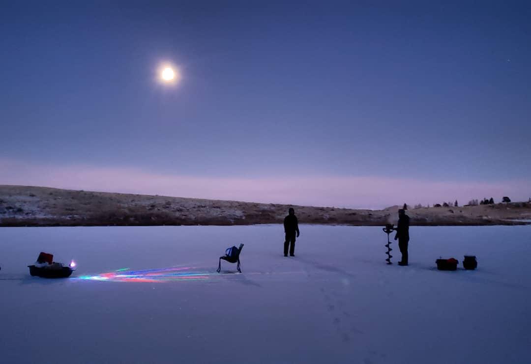 Ice fishing Sunday #icefishing #elevenmile #moon #ice #colorado #rockymountains