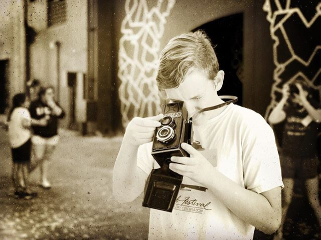 My teen #photocamp campers got to experiment with a #mediumformat #twinlensreflex #filmcamera yesterday at @moreanarts Center. #StPete. Today we're making #pinholecamera! #film4life