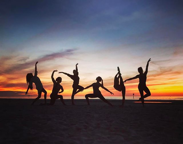 We couldn't resist taking a photo on the beach at sunset after performing #elevateperforms #clearwaterbeach #dancers