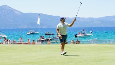 The reigning Champion has arrived 🏆 • Back-to-back American Century Champion & former Dallas Cowboys QB Tony Romo has arrived at Edgewood in Lake Tahoe.  • Can he complete the Three-Peat this weekend?  • Link in bio for a full list of everyone competing this weekend! #PlayItACC