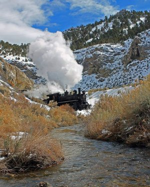 Winter steam in the high desert of Ely Nevada is a beautiful sight.  #nevada #winter #steamtrain #locomotive #landscape_capture #landscapephotography #nv #mountainlife #mountains #winterphotography #winter #awesome_earth #awesome_shots #awesometravel #travelphotography #beautifulplace #nevadaphotography