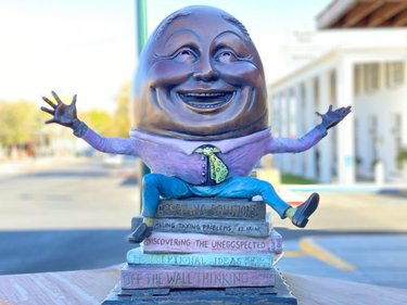 """Eggcited"" by Kimber Fiebiger⁣ ⁣⁣ I love this artist's take on Humpty Dumpty. If you like art sculptures, there are lots of these treasures found in downtown Boulder City, Nevada.⁣ ⁣⁣⁣⁣⁣⁣⁣ 📸 November 2020 📍 travelnevada bouldercitynevada #BoulderCity #Nevada⁣⁣⁣⁣⁣⁣⁣⁣⁣ ⁣⁣⁣⁣⁣⁣⁣⁣⁣⁣ ⁣⁣⁣⁣⁣ ⁣⁣⁣⁣⁣ ⁣⁣⁣⁣⁣⁣⁣⁣⁣⁣ ⁣⁣⁣⁣⁣⁣⁣⁣⁣⁣⁣⁣⁣⁣⁣⁣⁣#Art #Sculpture #Culture #Trip #Travel #TravelDeeper #travelgram #Wander #RoadTrip #Explore #Wanderlust #BeautifulDestinations⁣⁣ #seetheworld #instaart #artwork #artcollective #artgram #artistic #artistsoninstagram #artofinstagram #treasure #artphotography #travelphotography #mustsee #eggcited #humptydumpty #artlife #bronze"