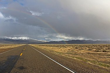 I never realized how special desert rain was until I lived somewhere that it rained all the time! • • • #westbysouthwest #nevada #travelnevada #nvmag #onlyinnevada #northernnevada #rainbow #rainstorm #highway #dfmi #explorenevada #cowboycountry #mountain #desert #sky #photography #photooftheday #landscape #naturalnevada #homemeansnevada #silverstate