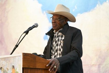 """Known to many as the """"Jackie Robinson"""" of rodeo, Myrtis Dightman was the first Black cowboy to compete at the National Finals Rodeo. We were honored to have him with us at the 2020 National Cowboy Poetry Gathering. 📸: @marlaaufmuth  #cowboypoetrygathering #elkonevada #blackcowboys"""