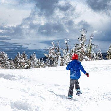 Lake Tahoe a few weeks ago. . . . . . . . . . . . . . . . . #laketahoe #nevada #naturephotography #kidshiking #snowshoeing #snow #winterlove