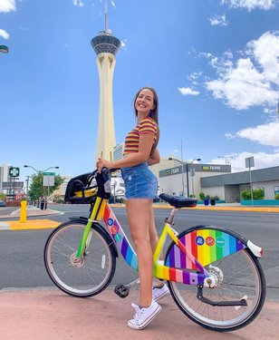 After two months of searching, lydia.r.penn finally found the mythical, one-of-a-kind #RTCRainbowBike!⠀ ⠀ Out of rtcsnv's entire fleet of 200 bikes (spread across 21 stations in DTLV), there's only one painted in rainbow colors. The bike was introduced June 1, 2018, to coincide with Pride month and was featured in RTC's Pride rides in 2018, as well as in a contest to win a free year Bike Share membership.⠀ ⠀ Have you ridden the #RTCRainbowBike?⠀ ⠀ 📸: lydia.r.penn / Shout out to bicycleboy702 for the info!