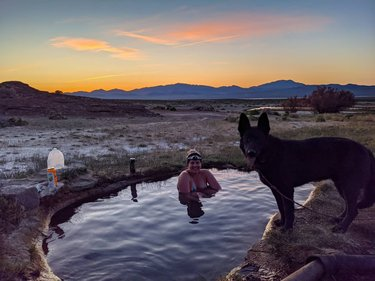 Looks like we caught the hot springs bug. Can't wait for another trip to new, more isolated hot springs.  #hotsprings #natural #nevada #desertoasis #relax #neverstopexploring #thegreatoutdoors #germanshepherd #blm #sunset #nevadaoutdoors #travelnevada #roadtrip #overlanding