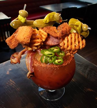 Are you sharing The Hail Mary Bloody Mary from guyfieri's Vegas kitchen or nah? 🍖🥒🧇 #LINQlife #VegasAgain