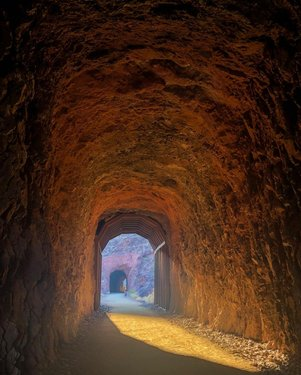 The Historic Railroad Trail between Boulder City and Hoover Dam is very interesting. There are five 25' high tunnels that the trains used to carry everything that was used in building the Hoover Dam. The 2.5 mile trail (5 miles round trip) is the only remaining section of the original route . . . . #historicrailroadtrail #lakemeadnationalrecreationarea #nationalparkservice #hooverdam #bouldercitynv #travelnevada #explorenevada #optoutside #thisisamerica #findyourpark #railtrail #railroadtunnel #tunnels