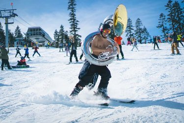 Cal State Berklee Big Band awesome!!! Yeeeeeeeee!!! . . . . . #photography #ski #trip #playing #while #skiing #snow #snowboarding #bass #tuba #instrument #not #the #calband #band #music #pregame #blue #gold #south #laketahoe #tahoe #sierra