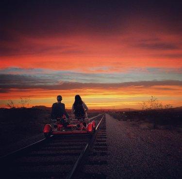 Las Vegas Division Sunset Ride every evening. #unforgettable  #railbike  #railexplorers  vegas  travelnevada