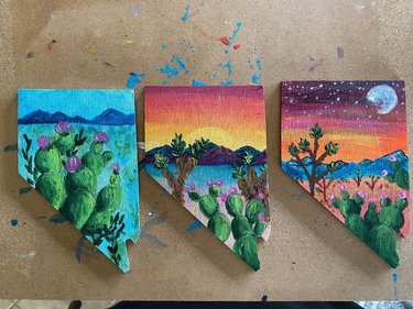 Working on some more Nevada magnets.... how do you all like these ones?? #nevada #nevadadesert #cactus #nevadaart #art #create #love