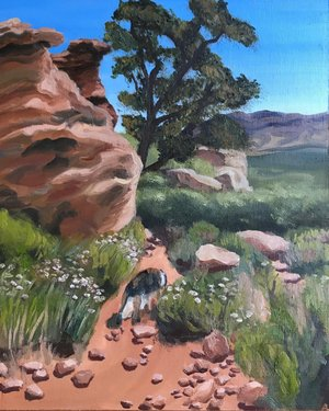 Little scene of Oak Creek Canyon. Oil on panel, 8x10  #redrockcanyon #redrock #oakcreekcanyon #nevada #nevadaart #oilpainting #oilonpanel #landscapepainting #painting #oil #panel #summer #8x10