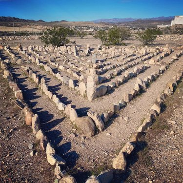 Get yourself grounded and you can navigate even the stormiest roads in peace.  #wanderstarr #laughlinlabyrinths #laughlinnv #getgrounded #labyrinth #walkableart #calming #peaceful #peacefulplace #nevada #zen #getoutside #explore #explorenevada #slowdown #meditate