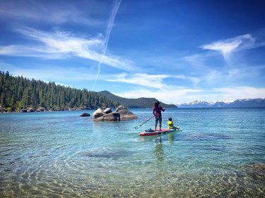 Summertime on the lake. ☀️ 🏔 🏄🏻‍♀️ My Christmas present this past December was an inflatable paddle board. I had been coveting one since we moved near Tahoe almost a decade ago. Riding on the board might be the only time my kids sit still. 😊 It's been a beautiful, peaceful escape from the chaos of real life. I wish everyone could find that place. ❤️ . . I'm going to start suggesting other bipoc voices to check out on IG on my posts. This week: go follow she_colorsnature for more outdoor adventures! 🌲 🥾 ⛰ . . . . . . . . . . #laketahoe #tahoe #lakelife #outdoors #outdoorsusa #travelnevada #dfmi #renotahoe #outdoorfamilies #childhoodunplugged #kidadventures #optoutside #travel #landscapephotography #landscape #nature #adventure #activefamily #playoutside #letthemexplore #tahoesnaps #sierranevada #childrenofmountains #tinybigadventure #islesup #beautifuldestinations #wilderness_kids