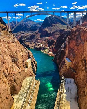 Hot Dam! ^^^^^^^^^^^^^^^^^^^^^^^^^^^^^^^^^^^^^^^^^^^^^^^^^^^^ #hooverdam #hoover #dam #nevada #ohdam #bridge #blueskies #coloradoriver #lakemead #canyons #explore #escape #adventure #travel #wander #wanderlust #wow #america #west #gowest #explorenevada #visitnevada #mountains #western #wonderfulworld #amazed