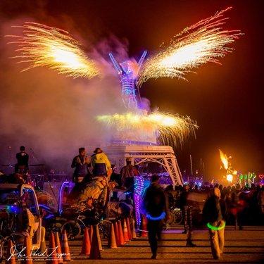 The start of the Man Burn, Metamorphosis 2019. .. .. .. .. .. #burningman #theburn  #metamorphosis #pyrotechnics #fireworks #Installationart #pyroteam #BurningMan2019  #playaart #BurningManArt  #BlackRockCity #industwetrust #nevadaart  #burnerlove #nevadagram  #contemporaryart