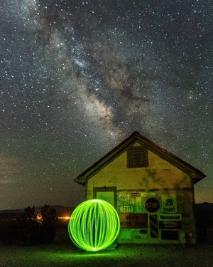 Katrina redheadkatrina spinning a Green Orb Light Painted Ball at the back of the Goldwell Open Air Museum House, with the Milky Way rising above in the skies. Taken at Rhyolite Ghost Town in Beatty, NV in Death Valley National Park with the creativephotoacademy, led by cassonephotography and redheadkatrina. This was our very last photo shoot of the night and of our Star Trails and Light Painting in Death Valley Photography Workshop, early this morning at 12:20 AM on June 21, 2020. Good Nigjt and Sweet Dreams, everyone! 🌌🏠💚📷 #deathvalley #deathvalleynationalpark deathvalleynps #deathvalleylove #nationalparklife #rhyolite #rhyoliteghosttown #beatty #nevada #creativephotoacademy  creativephotoacademy #paulsphoto pauls.photo #onlyinnevada only_in_nevada  #exploredesertcities exploredesertcities #onceupon_the_earth #astrophotography #milkyway #milkywaychasers #thegreatmilkywaychase #ig_milkyway #longexposure #longexposure_shots #raw_longexposure #bestpicsaround  #shannasshots #abc7eyewitness #cbsla #nbcla #nikond810 #nikkor2470mm #nikonnofilter #nikonlove