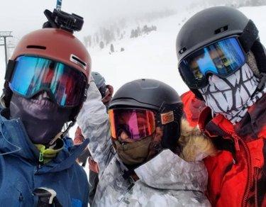 Powder turns with my peeps. Gotta love Nevada and mtroseskitahoe for all the logic and powder turns!  Keep up the good work Mt. Rose!  tahoe_ted bojanaifbbpro #mtrose #theshowmustgoon #ski #powderday #deeppowder #masks #faceshots #firstinclass #dfmi