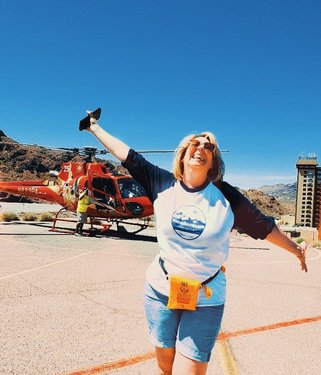 """That Friday Feeling before a long weekend ⠀ ⠀ Pic taken last month after my first helicopter ride, courtesy Papillon Grand Canyon Tours. ⠀ ⠀ ⠀ Looking for ideas for a 3-Day Itinerary Guide to adventure & luxury in the Las Vegas area but without the usual gambling, etc? Check out the link in the bio to my new content showing a different side of the """"new"""" Vegas. ⠀ ⠀ #WhereGalsWander⠀ #MoreToLife⠀ ⠀ ⠀ #lasvegas #adventure #mappinners ⠀ #helicoptertours #vegasbaby⠀ #journeysofgirls⠀ #girlpowertravel #instatravel⠀ #girlsborntravel #chooseadventure⠀ #pinktrotters #friyay⠀ #adventureraised #fridayfeeling⠀ #ourplanetdaily #roamingwomen #darlingescapes⠀ #girlswhotravel #fearless ⠀ #travellife #memorialdayweekend⠀ #globetrotters #weekendgetaway #sheisnotlost⠀ #traveltheworld #weekendvibes"""