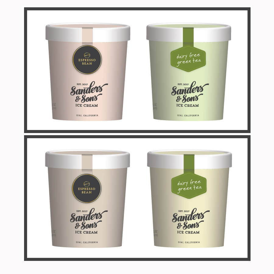 crowdspring case study - sanders and sons ice cream logo and package graphics