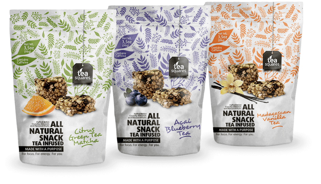 crowdspring HERO image showing custom package graphics design for an all natural tea infused snack