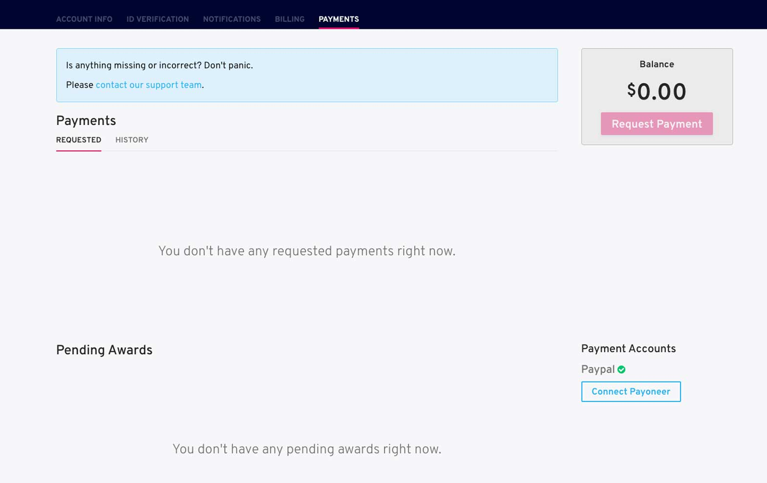 payment screen view