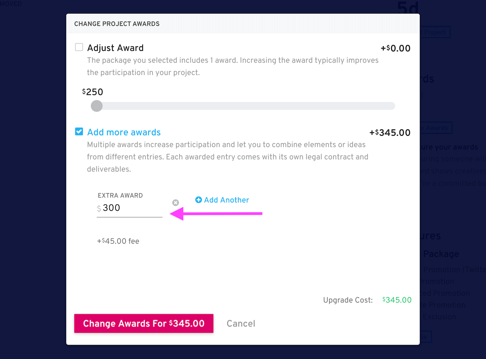 add an award screen