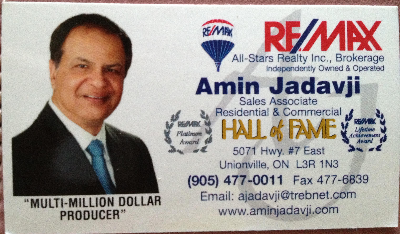 Brief Amin Jadavji the Toronto Realtor Projects