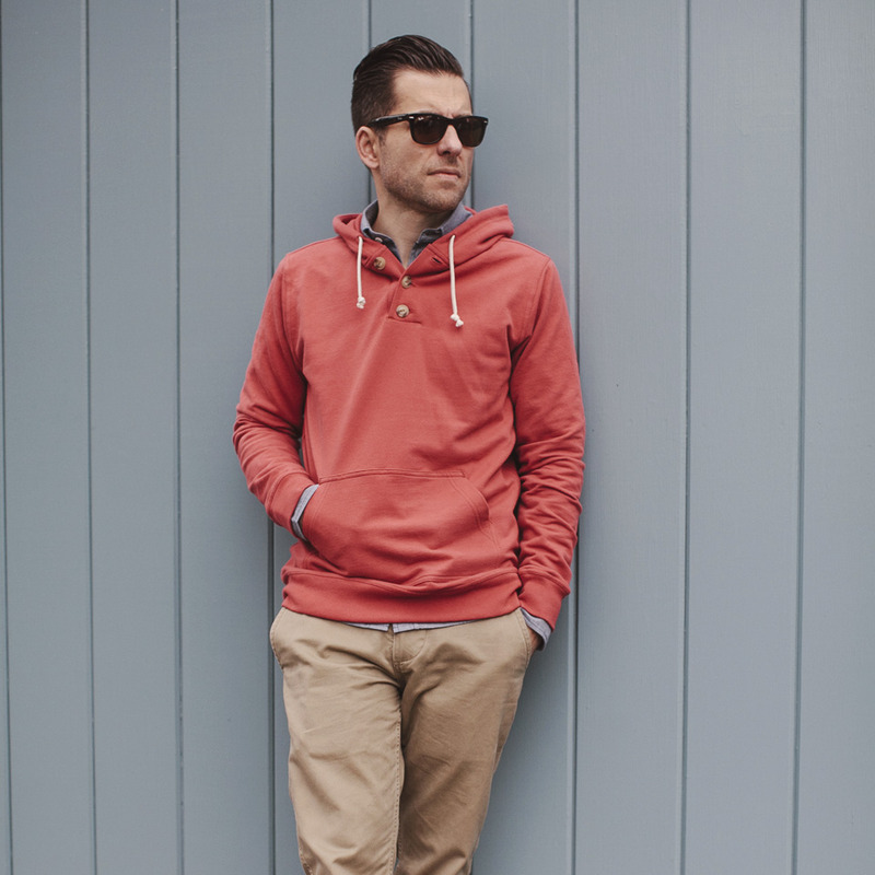 Dusty Red 3 Button Hooded Sweatshirt - alternate view