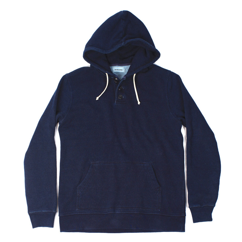 Indigo 3 Button Hooded Sweatshirt - featured image