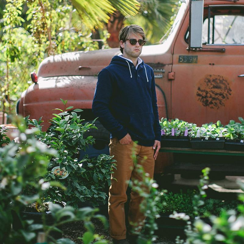 Indigo 3 Button Hooded Sweatshirt - alternate view