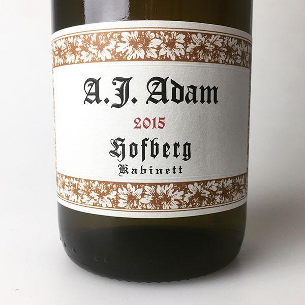 2015 A.J. Adam Riesling Kabinett Dhron Hofberg 750 ml