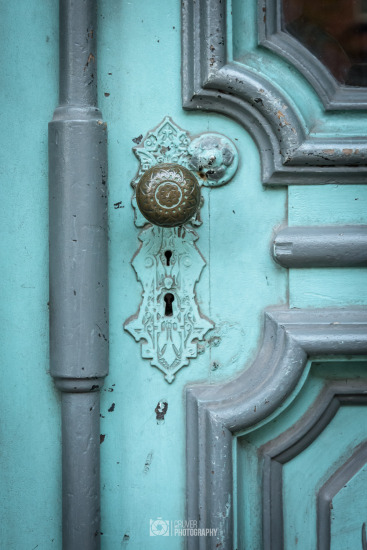 Light blue and grey door in Jim Thorpe, PA.
